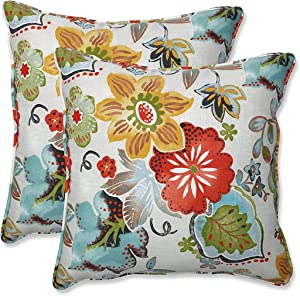 "Pillow Perfect Outdoor/Indoor Alatriste Ivory Throw Pillows, 18.5"" x 18.5"", Floral, 2 Count"
