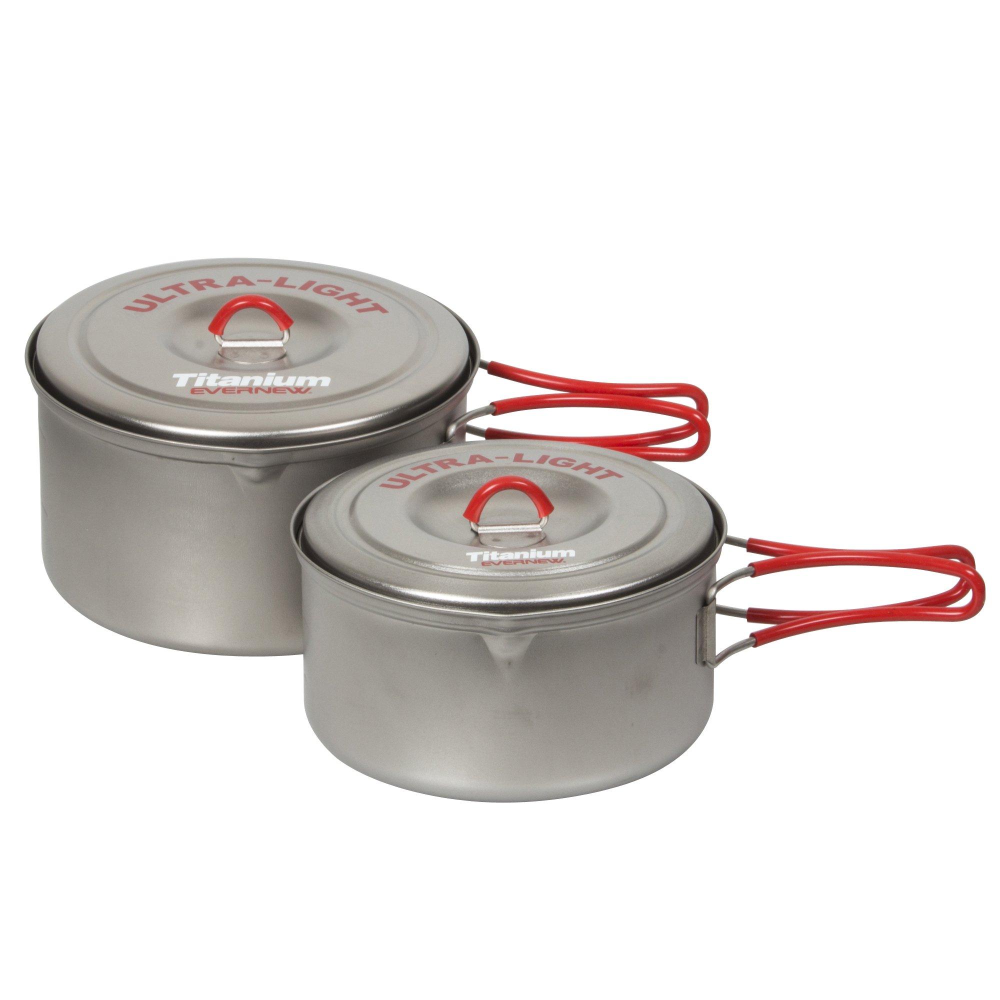 EVERNEW Titanium Ultralight Pot Set, Medium, Red by EVERNEW