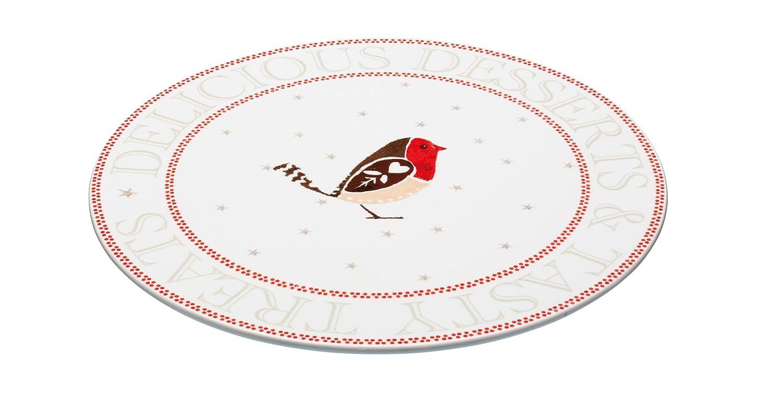 Kitchen Craft Little Red Robin Porzellan Weihnachten Tortenplatte ...