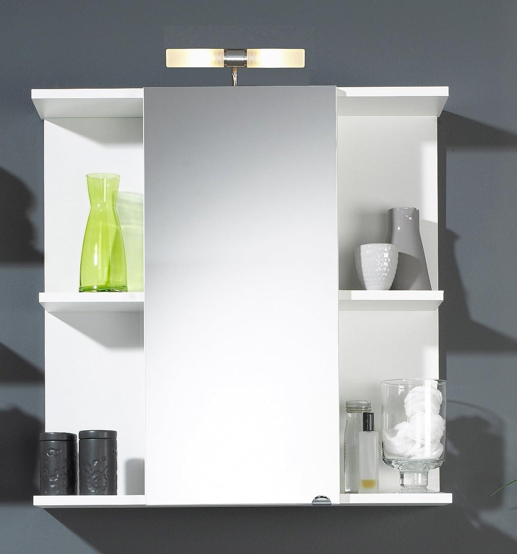 Spiegelschrank mit sechs offenen Fächern und Lampe in weiß; Maße (B T H) in cm  68 x 20,5 x 68