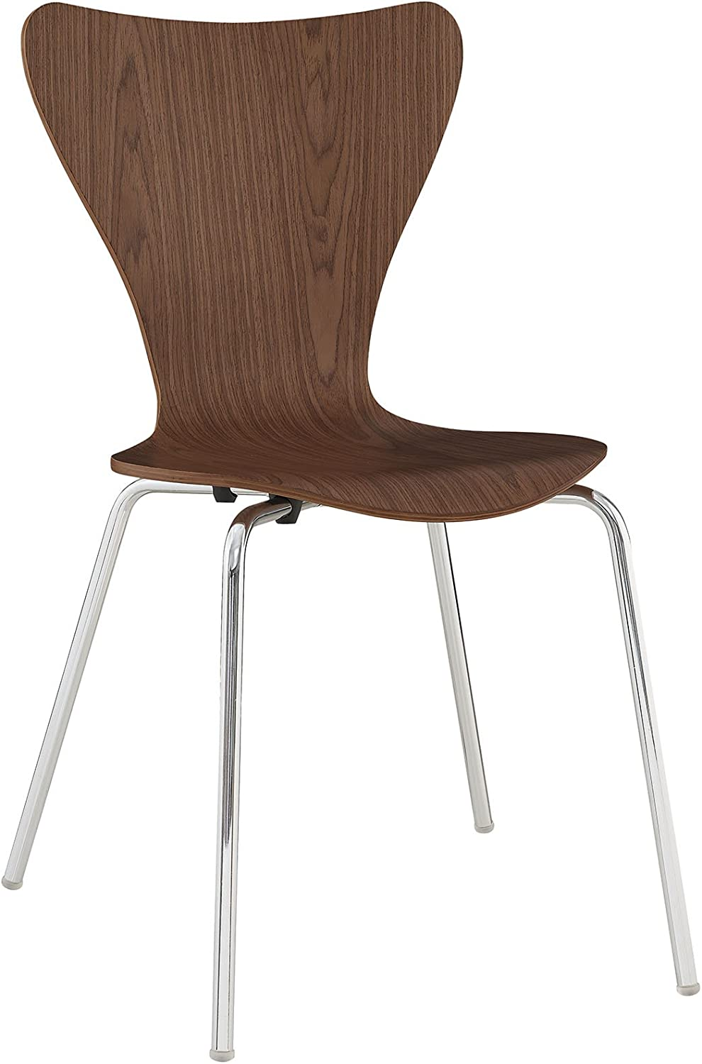 Modway Ernie Mid-Century Modern Wood Stacking Kitchen and Dining Room Chair in Walnut