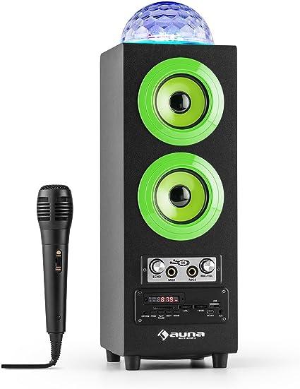 AUNA DiscoStar Green - Altavoces Bluetooth 2.1 , Luces LED , Radio FM , MP3 , SD , USB , Mini USB , AUX , Micrófono , Control de Volumen , Mando a Distancia , Asas , Batería , Portátil , Verde: Amazon.es: Electrónica