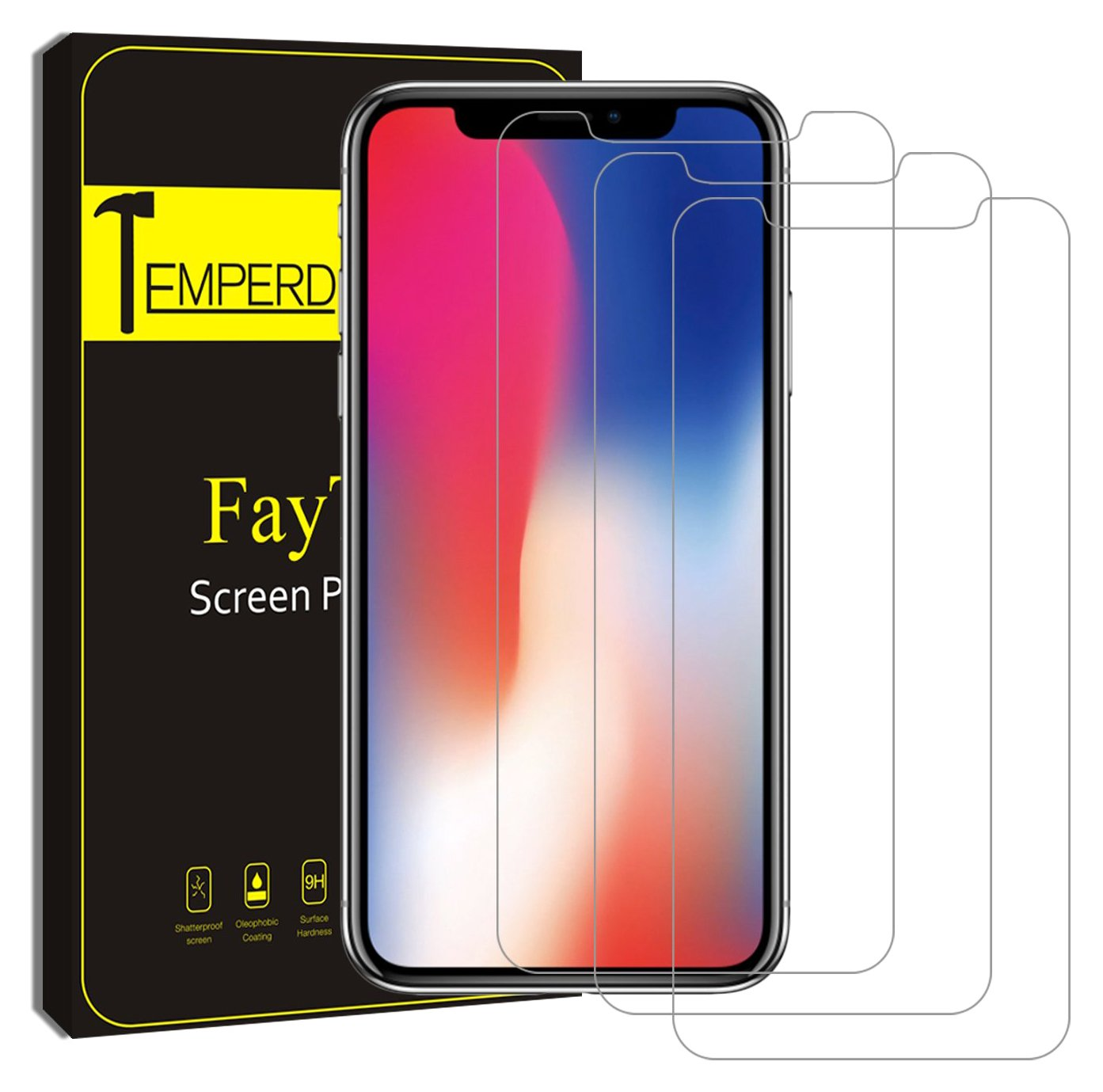 iPhone X Screen Protector, (Clear Transparent, 3 Packs) FayTun iPhone X Tempered Glass Screen Protectors, 0.3mm Screen Protector Glass for Apple iPhoneX 2017, 3D Touch Accurate