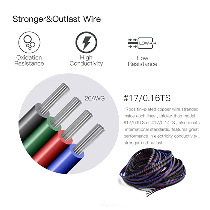 26.2ft-20AWG MakerStack 26.2ft 8M 20AWG LED Tira de luz RGB Cable de extensi/ón L/ínea para Tira de LED RGB 5050 3528 Cable de 4pin