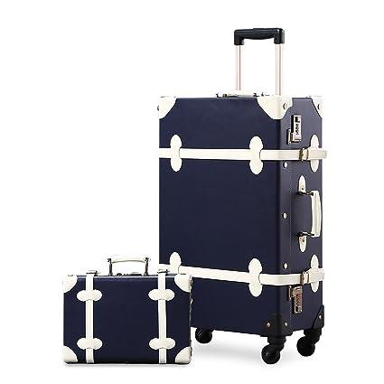 Amazon.com | Unitravel Vintage Suitcase Set Spinner Travel Hardside Luggage Sets PU Trunk | Suitcases