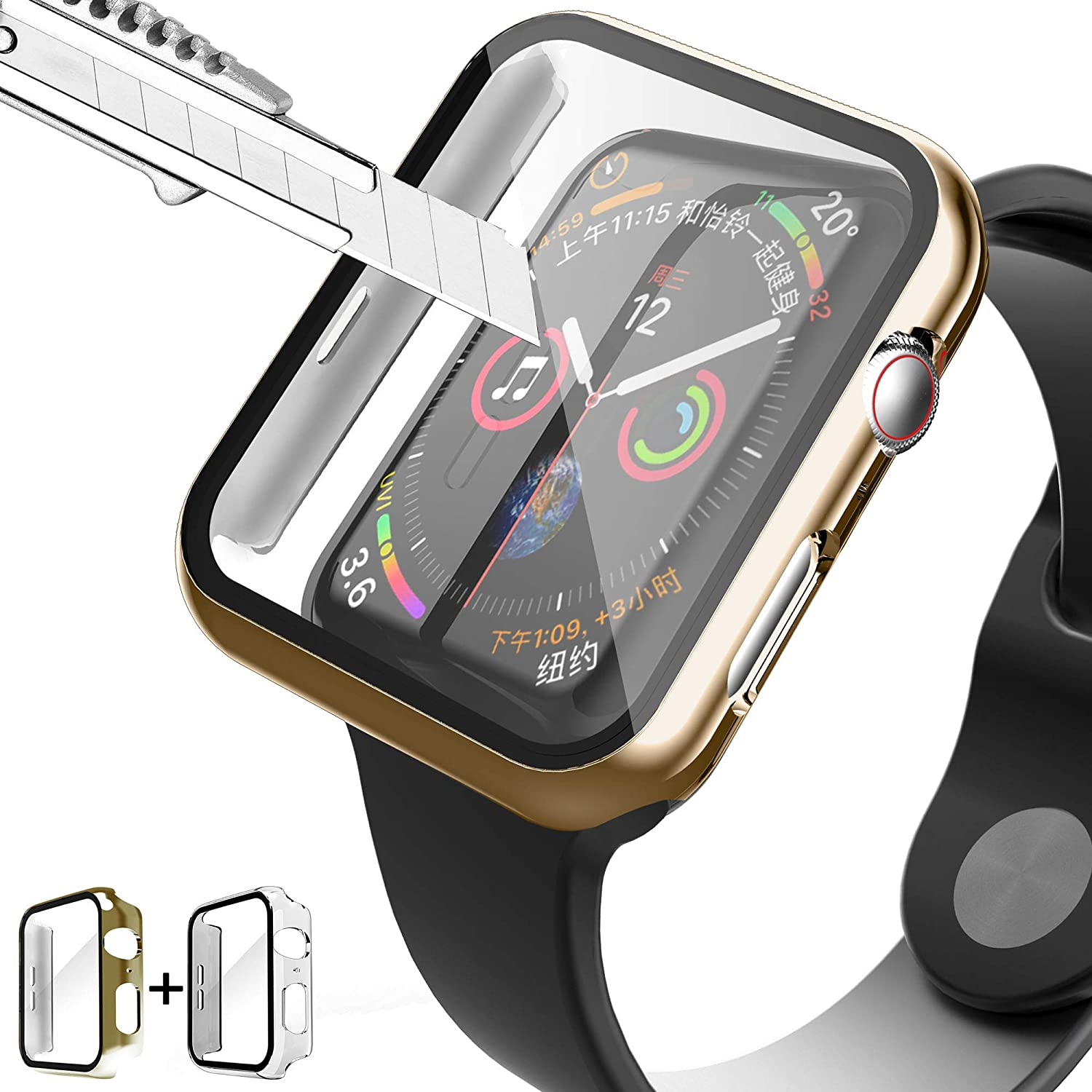 PROATL Full Cover Hard PC Case with 9H Tempered Glass Screen Protector Touch Sensitive iWatch Case Compatible with Apple Watch Series 3/2/1 38mm/42mm (2Packed, Clear+Dark Gold/ 42mm)