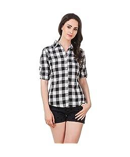 DAMEN MODE Women's Cotton Checkeredered Shirt (DMLPS2000_S, White & Black, Small)