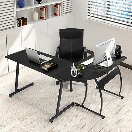 black office table. GreenForest L-Shape Corner Computer Office Desk PC Laptop Table Workstation Home 3- Black