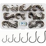 JSHANMEI 150pcs/box Circle Hooks 2X Strong Customized Offset Sport Circle Hooks Black High Carbon Steel Octopus Fishing Hooks Size 1-5/0