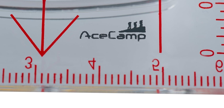 Backpacking Senderismo en Noche con Base para orientaci/ón 3116 AceCamp floureszierender Tarjeta Br/újula con Espejo/ /Br/újula para navegaci/ón