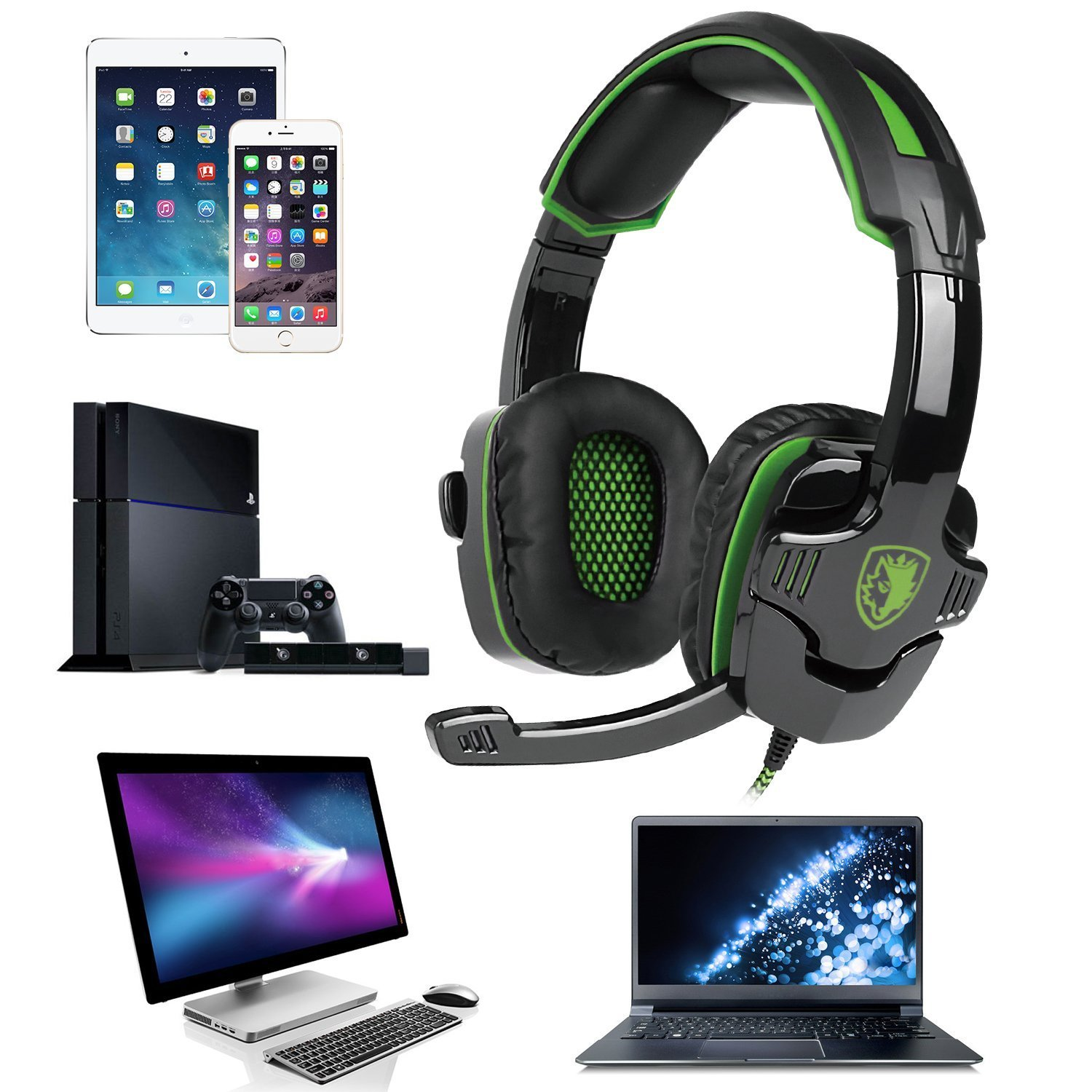 Gaming Headset with Microphones In-line Volume Control for New Xbox One PS4 PC Mac iPad iPod Laptop Computer Smart phones, Sades SA930 3.5mm Wired Noise Isolation Bass Surround Over-Ear Headphones by SADES
