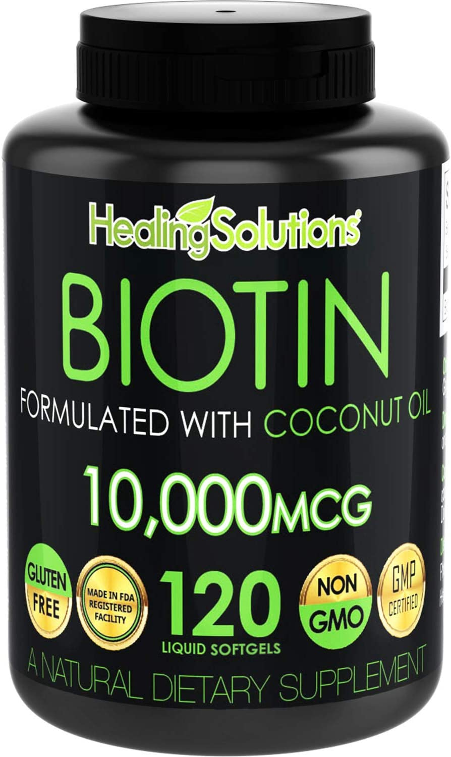 Biotin 10,000mcg (Vitamin B7 - 120 Pills) Hair Growth Vitamins with Coconut Oil – Perfect Nail Skin Softgels Biotin Supplement for Women and Men - Incredibly High Potency Capsules