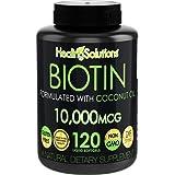 Biotin 10,000mcg (Vitamin B7-120 Pills) Hair Growth Vitamins with Coconut Oil – Perfect Nail Skin Softgels Biotin…