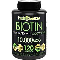 Biotin 10,000mcg (Vitamin B7-120 Pills) Hair Growth Vitamins with Coconut Oil –...