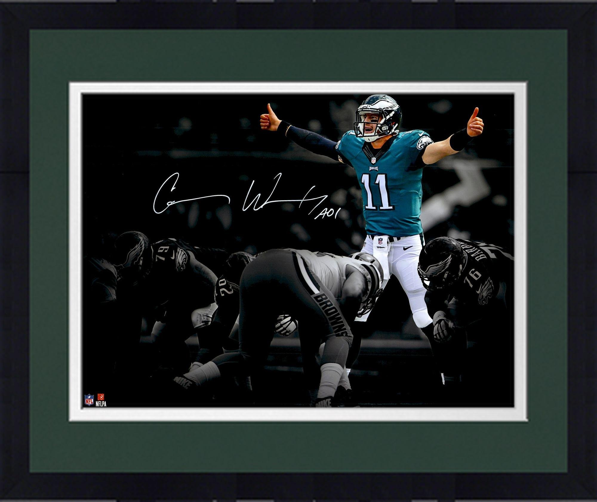 "Framed Carson Wentz Philadelphia Eagles Autographed 11"" x 14"" At The Line Spotlight Photograph Fanatics Authentic Certified"