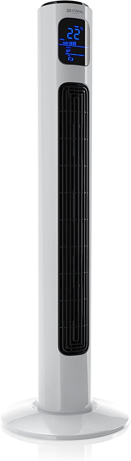 Brandson – Ventilador de Torre con Mando a Distancia - Oscillating Tower Fan - 45W - 3 Niveles de Temperatura Low Medium High - Temporizador - 3 Modos - Oscilación Ajustable a 60° - Blanco