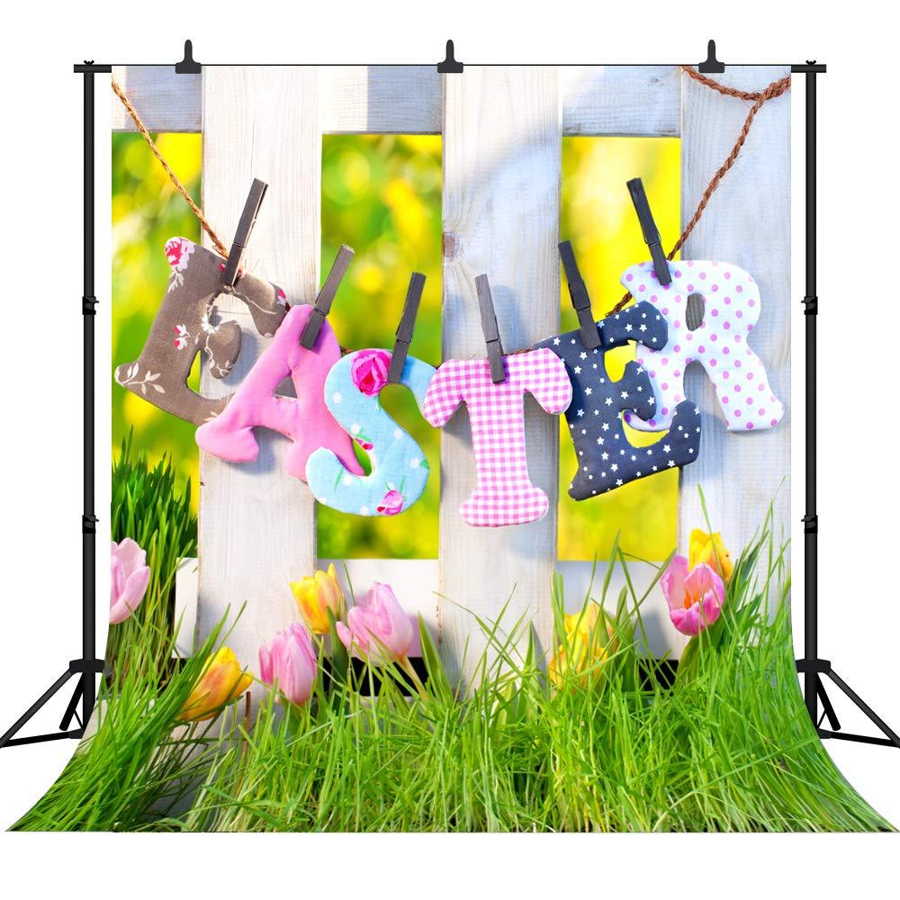 DePhoto 5X7FT(150X210CM) 春 ハッピー イースター シームレス ビニール 背景 写真 背景 スタジオ小道具 PGT313 8X8FT(240X240CM)  B07KYFP2YH