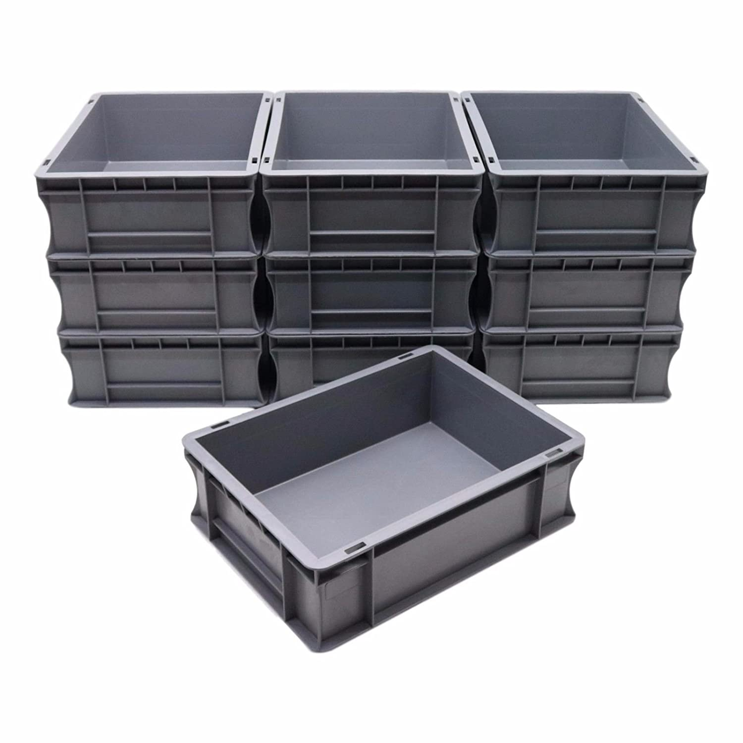 10 x 10 Litre Strong Plastic Parts Storage Container Euro Boxes Bins 3JC Ltd
