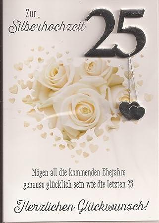 Karte Silberhochzeit Text.Karte Hochzeitskarte Silberhochzeit Hochzeit 25 Jahre Vier Jahreszeiten Briefkuvert