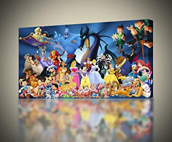 Disney Characters CANVAS PRINT Wall Art Decor Giclee Kids4 Sizes CA20 Small