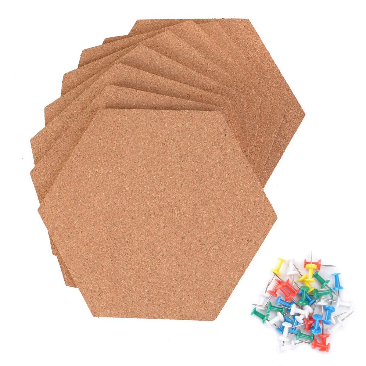 Autrix 8 Pack Hexagon Cork Board Tiles Adhesive Bulletin Board Wood Message Billboard with 35 PCS Pushpins for Home Office Classroom Wall Decoration (7.9 x 6.85 inch)