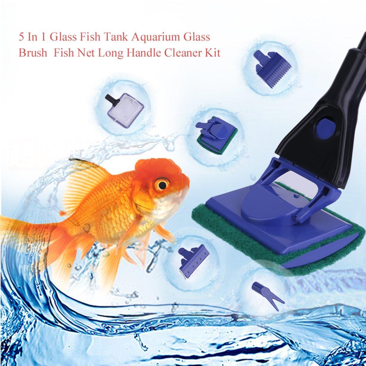 Pet Supplies Comomingo Practical 5 In 1 Glass Fish Tank Aquarium Glass Brush Fish Net Long Handle Cleaner Gravel Rake Algae Scraper Cleaning Tool Dematting Tools