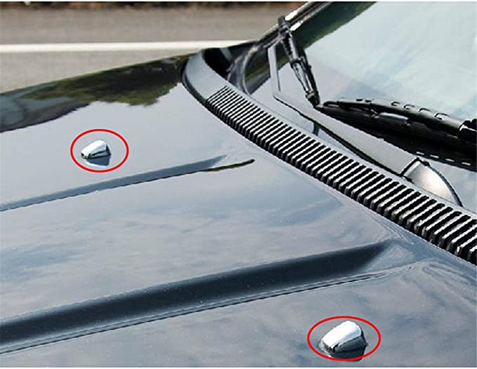 FMtoppeak Silver 2pcs Front Windshield Washer Wiper Spray Nozzle Trim Cover for 2007-2016 Jeep Compass//Patriot//Grand Cherokee//Cherokee