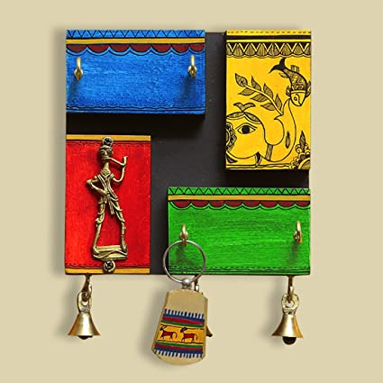 ExclusiveLane Warli Hand-Painted Dhokra Wooden Key Holder For Wall Décor  -Wall Decorations Key fb204a42d