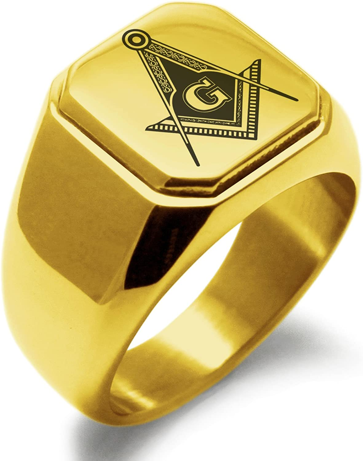 Stainless Steel Black Square /& Compass Masonic Symbol Flat Polished Band Ring