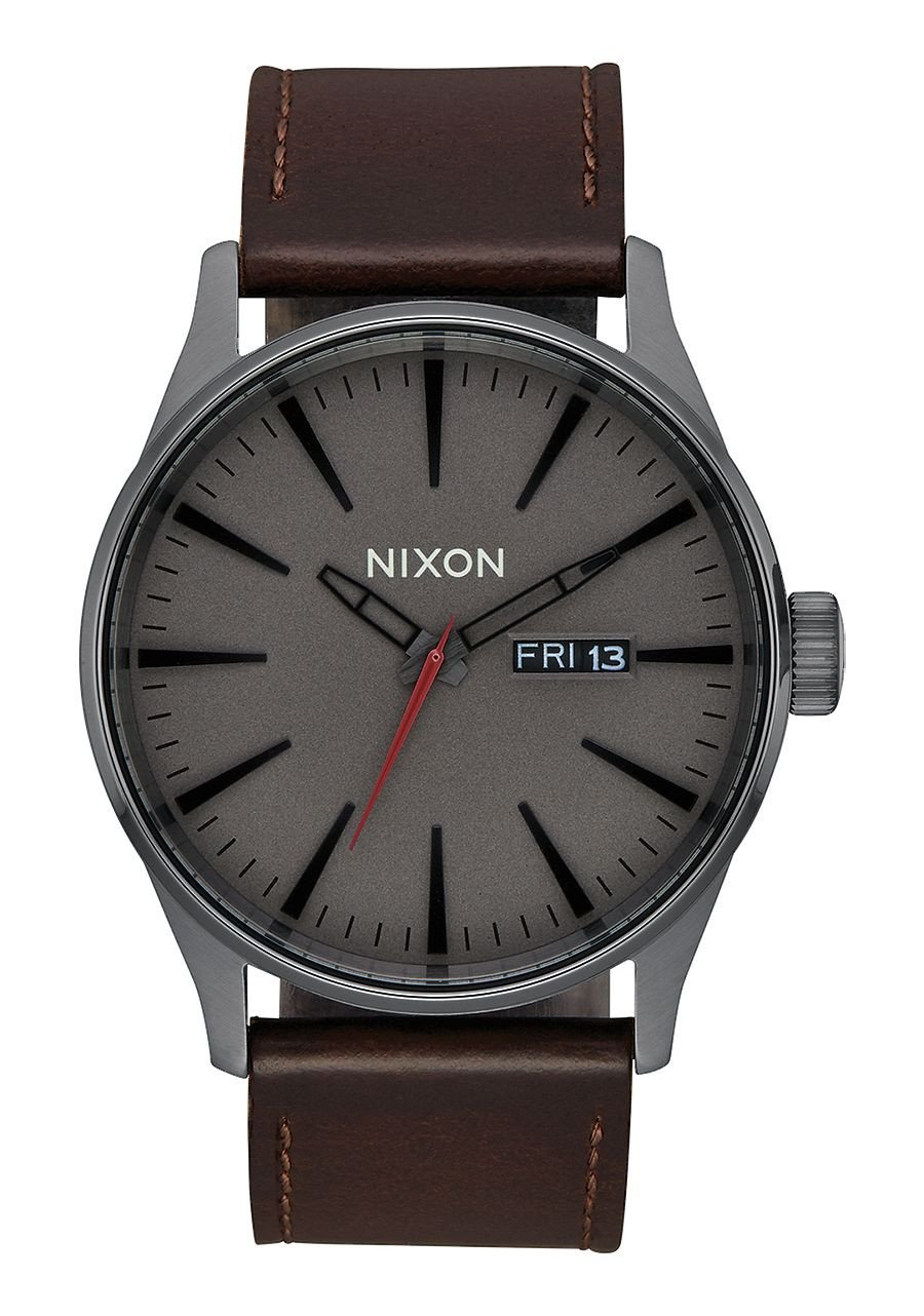 Nixon Sentry Leather A1052736-00. Black and Brown Men's Watch (42mm Black Watch Face. 23mm Brown Leather Band)