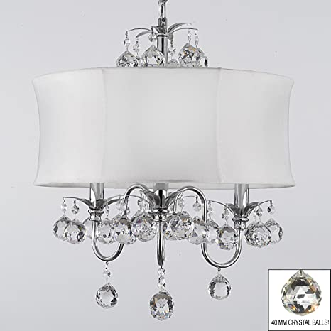 Modern contemporary white drum shade crystal ceiling chandelier modern contemporary white drum shade crystal ceiling chandelier pendant lighting fixture w 18quot mozeypictures Images