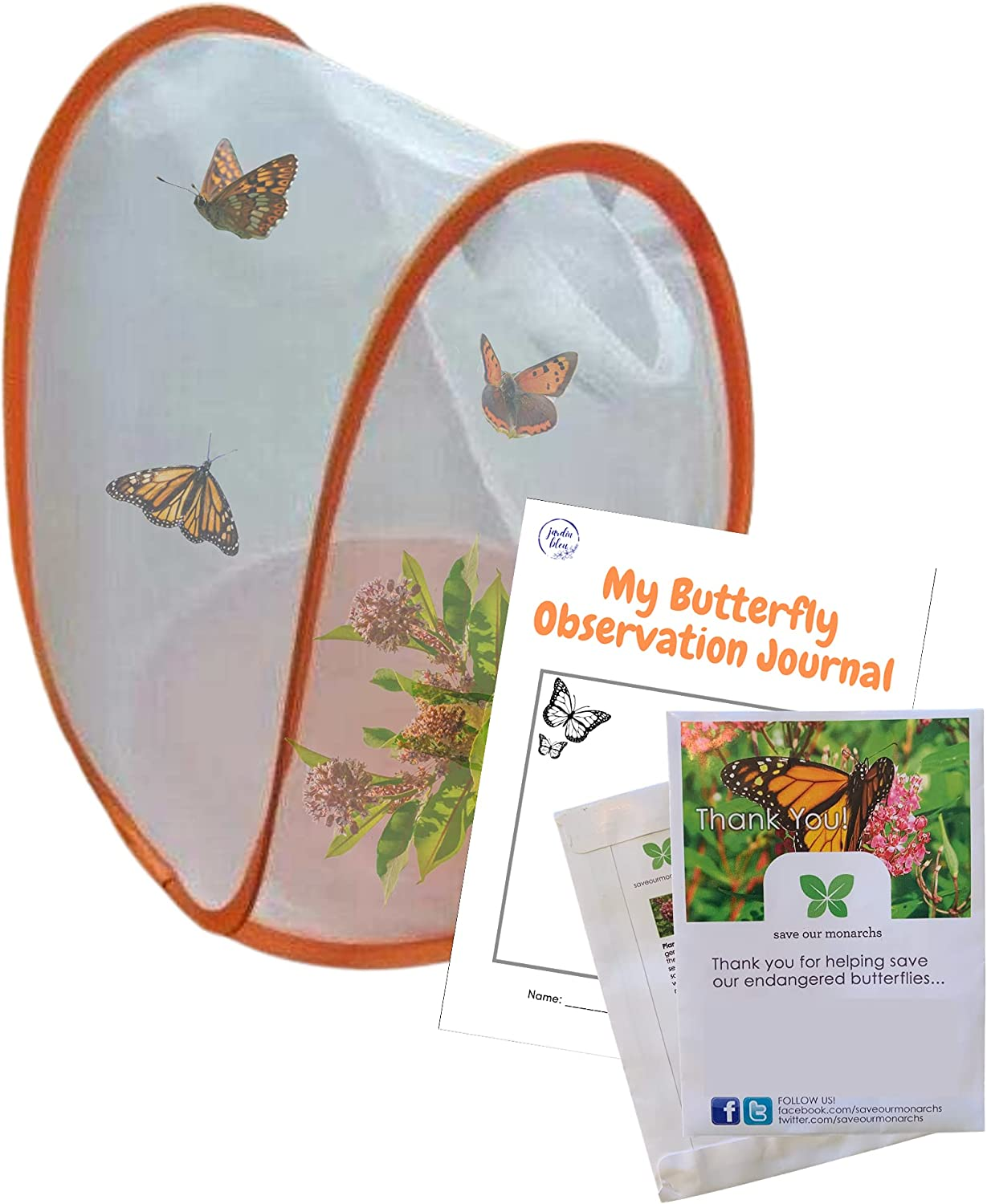 Butterfly Garden Kit | Butterfly House with Common Milkweed Seeds for Monarch Butterflies (NO Voucher)| Monarch Butterfly Kit| Butterfly Habitat