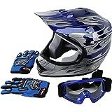 XFMT Youth Kids Motocross Offroad Street Dirt Bike Helmet Goggles Gloves Atv Mx Helmet Pink Butterfly (XL, Blue Flame)
