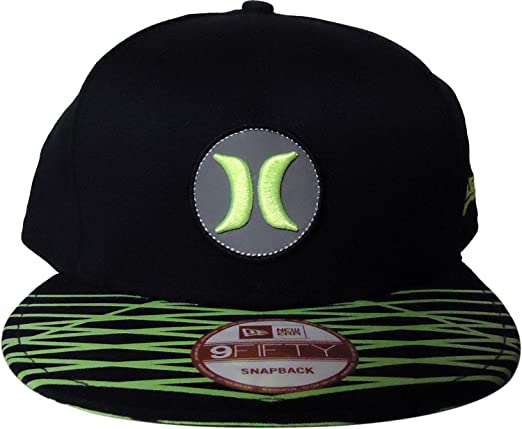 timeless design 1c858 05c0f Amazon.com  Hurley Open Fuse Nike Dri-FIT New Era 9FIFTY Snapback Cap Hat ( One Size, Black Lime)  Clothing