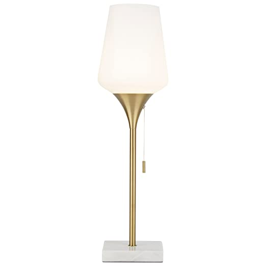 "Rivet Harper Mid Century Marble And Brass Table Lamp, 24.5"" H, With Bulb by Rivet"