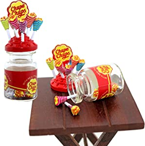 Haomian Dollhouse Miniature Food Mini Lollipop with Case Holder 1/12 Dollhouse Miniature Simulation Food Dolls Accessories Kitchen Play Toys