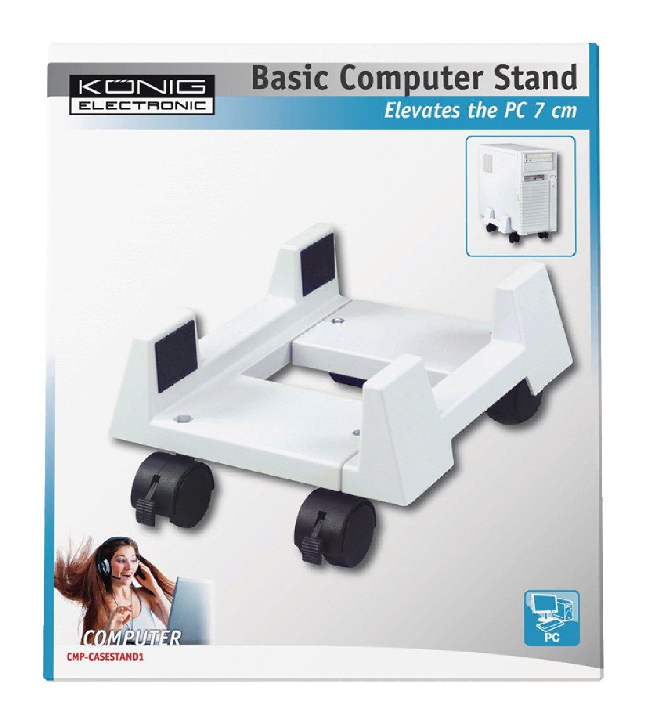 König CMP-CASESTAND1 - Soporte móvil para caja de ordenador de sobremesa, color blanco: Amazon.es: Electrónica