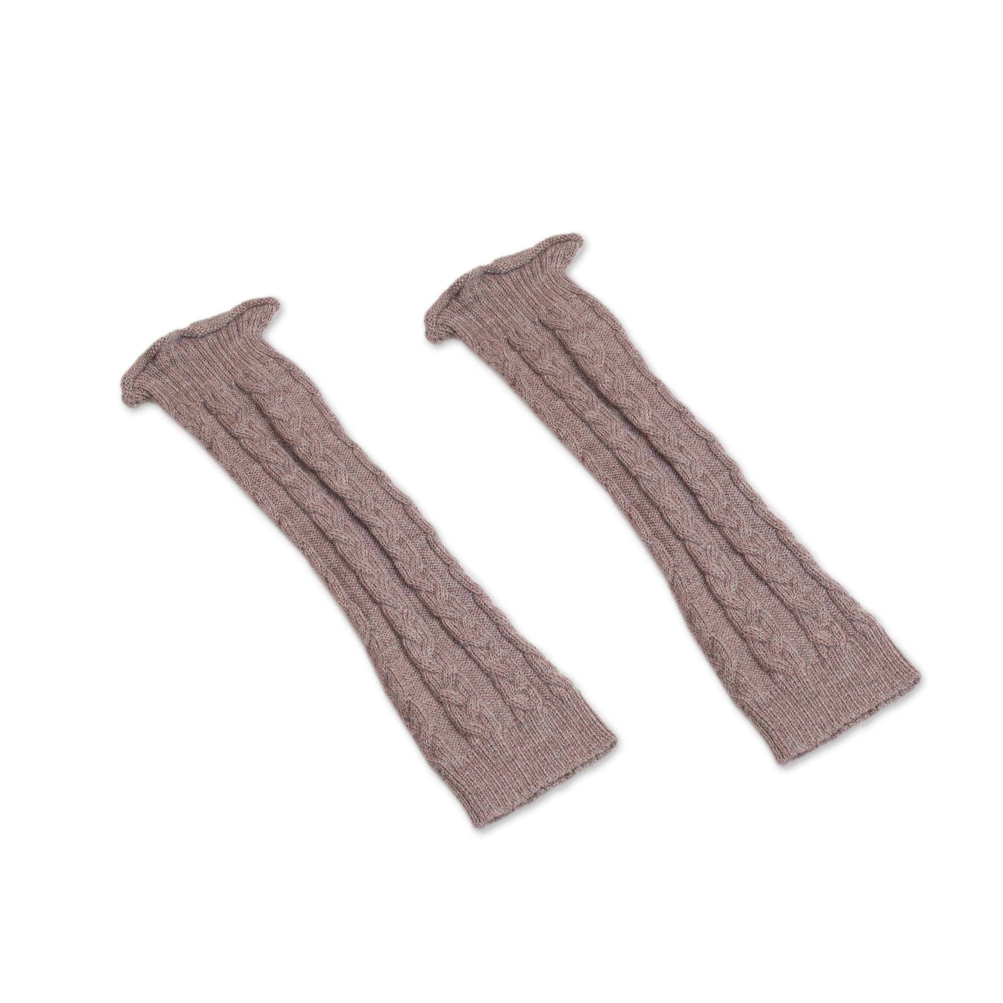 NOVICA Beige 100% Alpaca Leg Warmers, Cozy Cables in Mushroom' by NOVICA