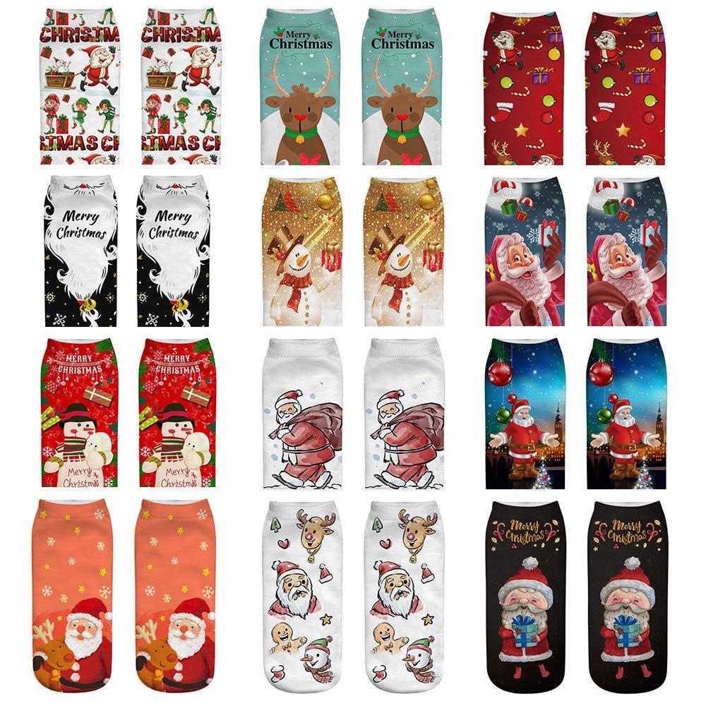 YKARITIANNA Women Merry Christmas Comfortable Cotton Sock Slippers Short Print Ankle Socks