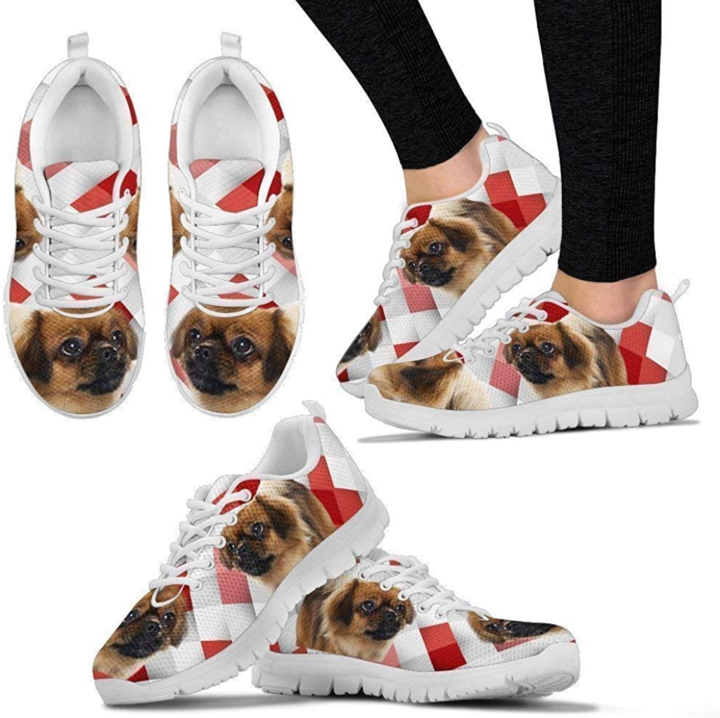 Pawlion Tibetan Spaniel Red White Print Running Shoes for Women-Casual Comfortable Sneakers Running Shoes