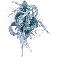 Pinza Broche para boda, flor de plumas, estrella (Beige, Blanco, Azul, Gris, Marfil, Amarillo, Negro, Morado), azul…