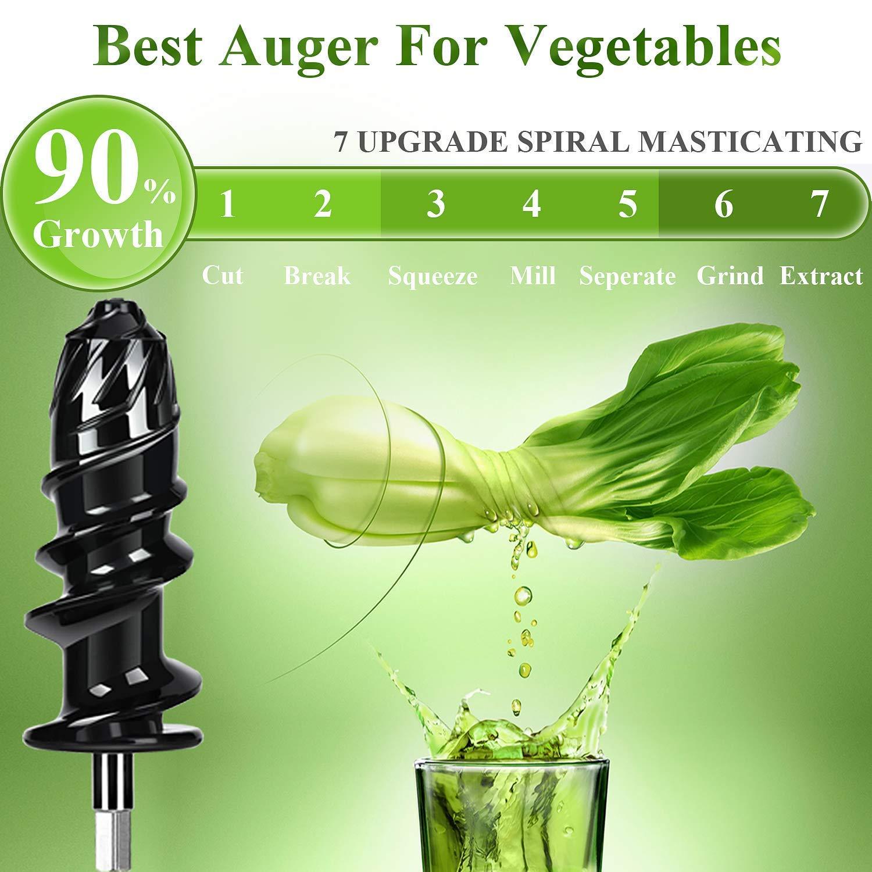 Licuadora Prensado en Frio,Aobosi Licuadora Frutas Verduras,Extractor de zumos con Función inversa,Motor Silencioso, fácil de limpiar con un cepillo ...