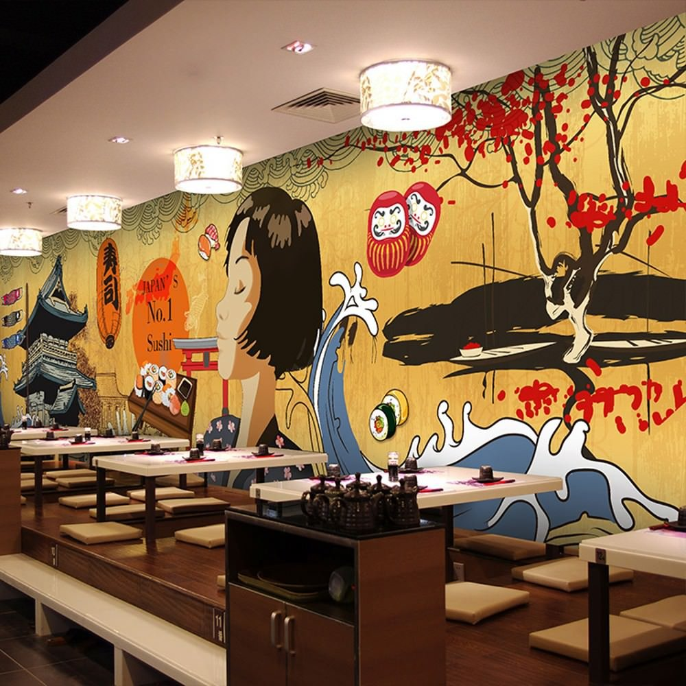 Colomac Wall Mural Japanese Retro Architecture Cartoon Characters Mural Suitable for Japanese Restaurant Cafe Wallpaper 196.8 Inch x 78.8 Inch