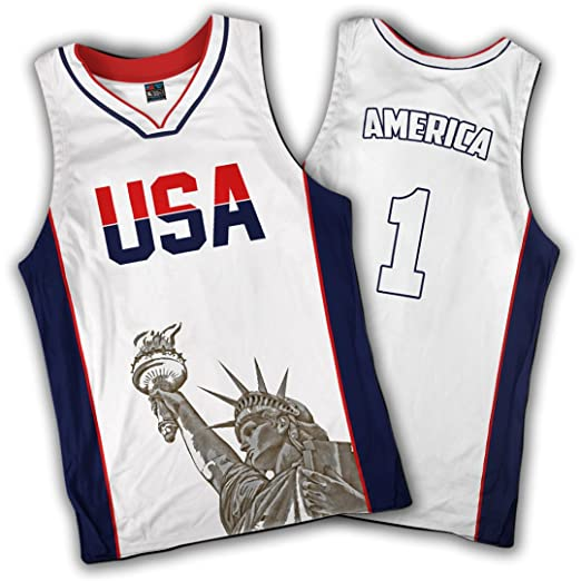 5f9c9b80828 Image Unavailable. Image not available for. Color  Greater Half White  Basketball Jersey Custom America ...