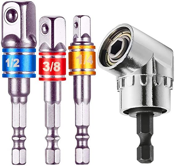 "4Pcs//set 1//4/'/' 3//8/"" 1//2/"" Right Angle Drill Adapter Shank Impact Driver Hex Bit"