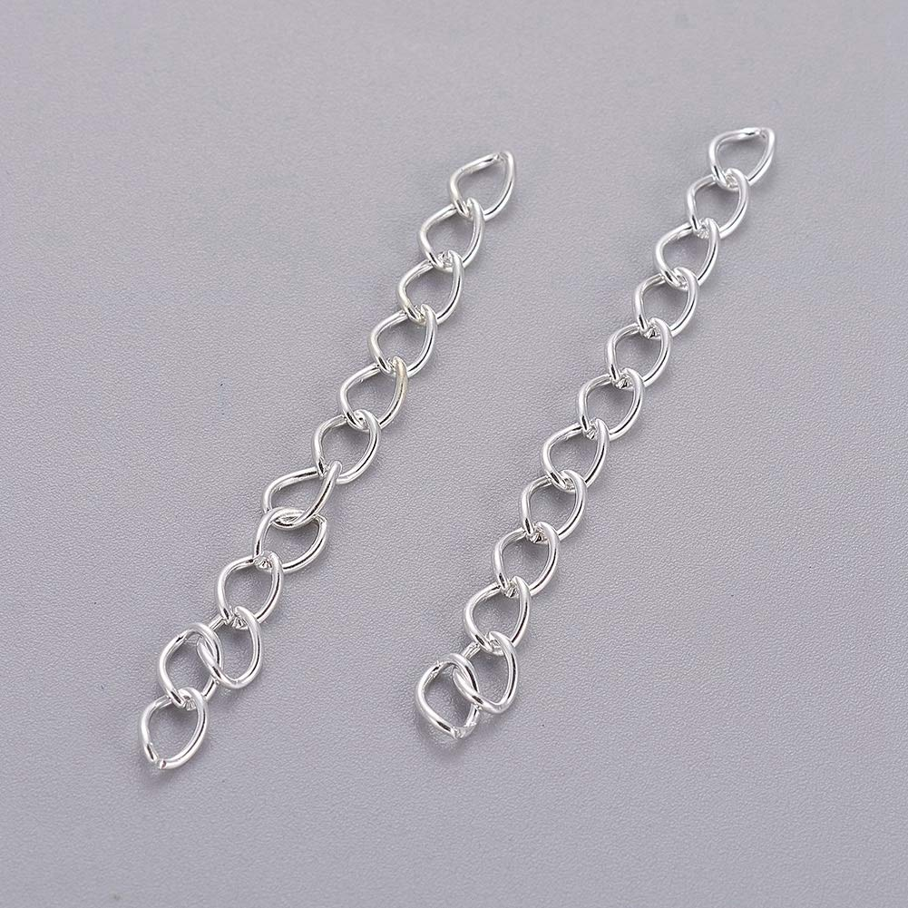 Craftdady 100 Pieces Necklace Bracelet Twist Extender Chain Extension Tails Endings Ends Connectors for DIY Jewelry Making 50x3.5mm, Silver