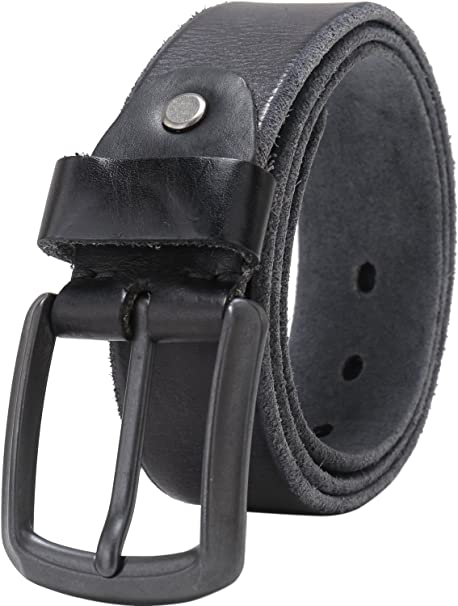 1 inch Belt Strap in Black Smooth Leather Replacement Mens buckles Italian 38/""