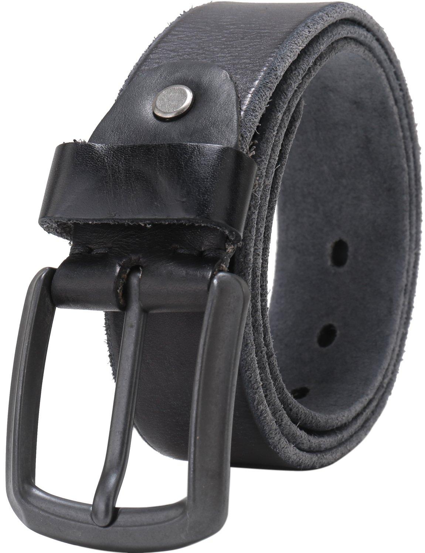 Beltox Fine Men's Full Grain 1 1/2'' Italian Leather Belt with Anti-nickel Buckle (38-40, black)