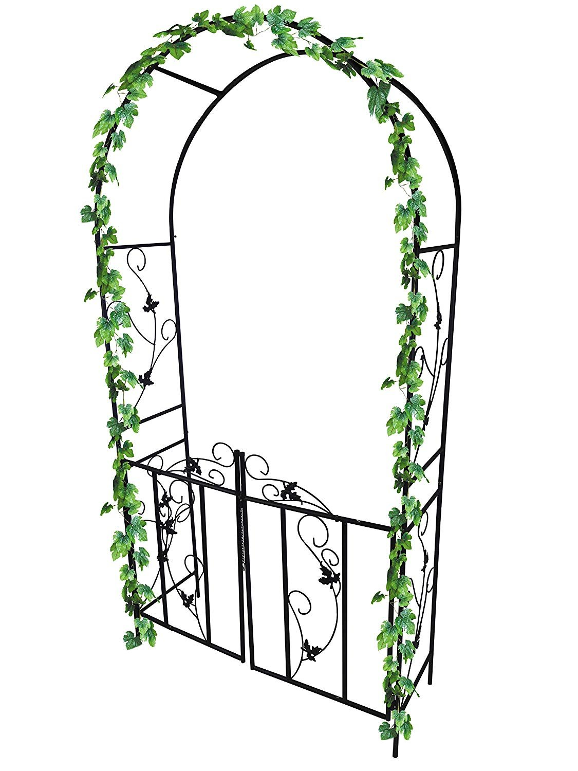 garden mile Large 2.2m Decorative Black Metal Garden Arch With Double Gates Heavy Duty Strong Tubular Arbour For Roses Climbing Plants Support Pergola Archway Garden Decoration Garden Mile®