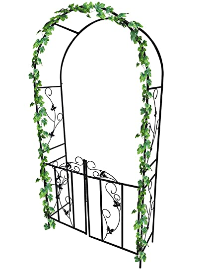 garden mile Large 2 2m Decorative Black Metal Garden Arch With Double Gates  Heavy Duty Strong Tubular Arbour For Roses Climbing Plants Support Pergola